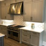 gray and gold kitchen