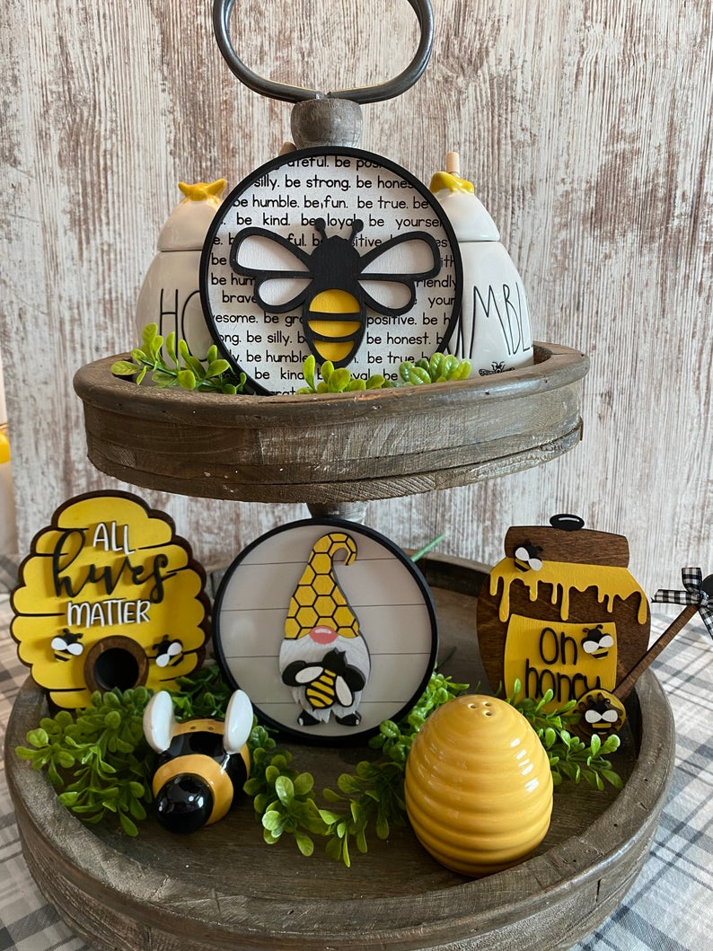 bee themed tiered tray styling ideas