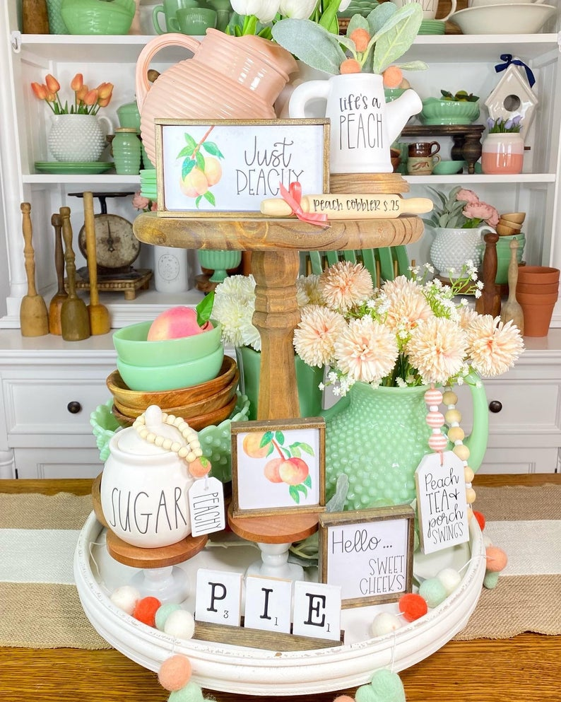just peach tiered tray