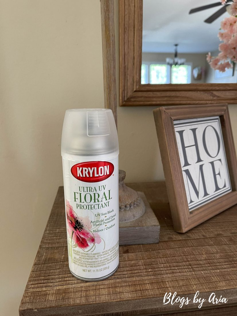 Krylon Ultra UV floral protectant spray to use faux flowers outdoors
