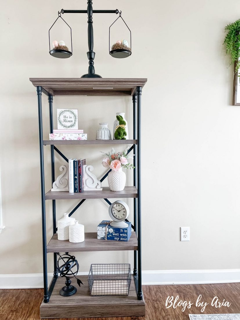 Spring and Easter styled bookshelf