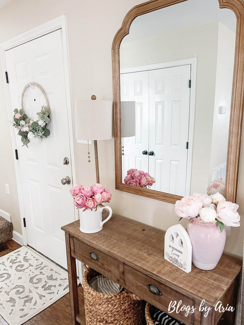 spring entryway table decorating