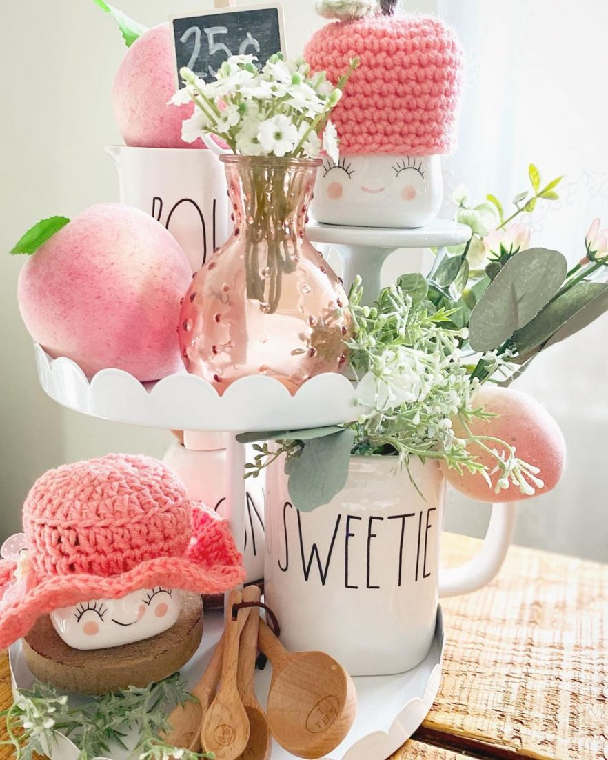 peachy summer tiered tray