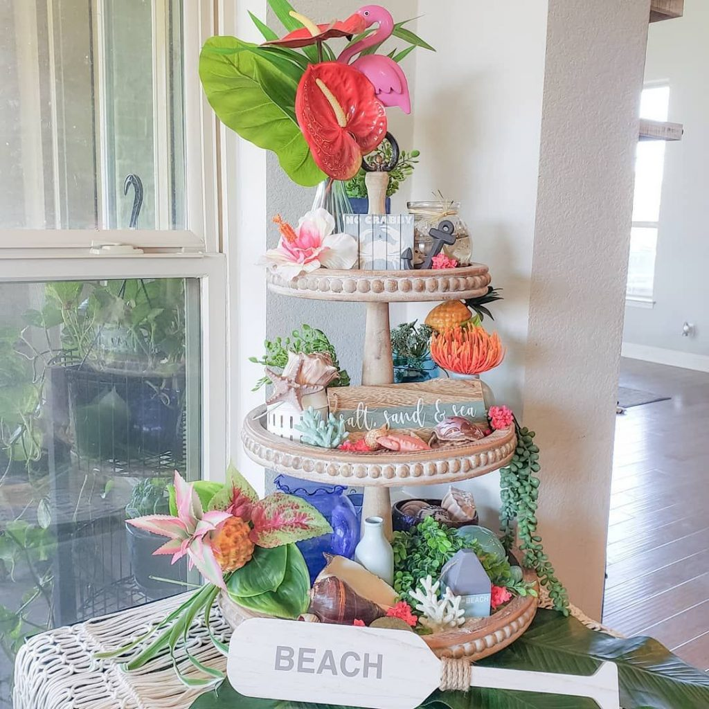 beach tiered tray styling