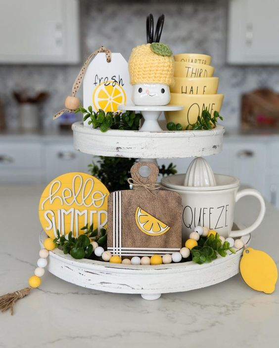 lemon squeeze tiered tray for summer