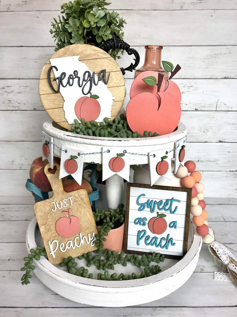 southern peach tiered tray