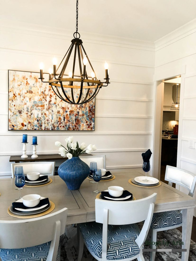 modern farmhouse dining room with horizontal board and batten