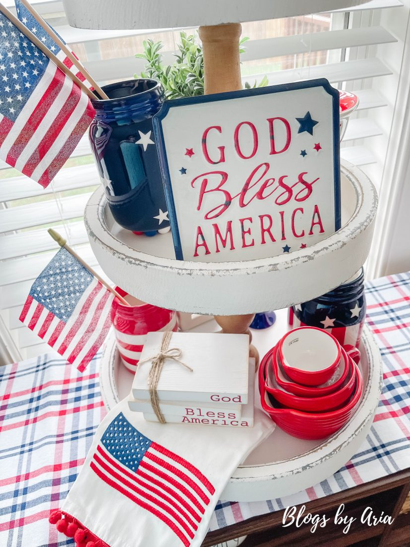 Fourth of July styled tier tray decorating ideas