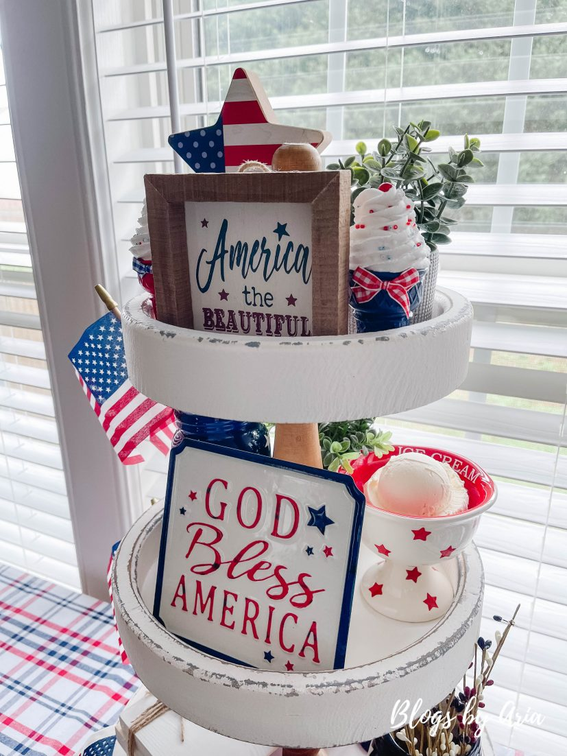 Fourth of July styled tier tray