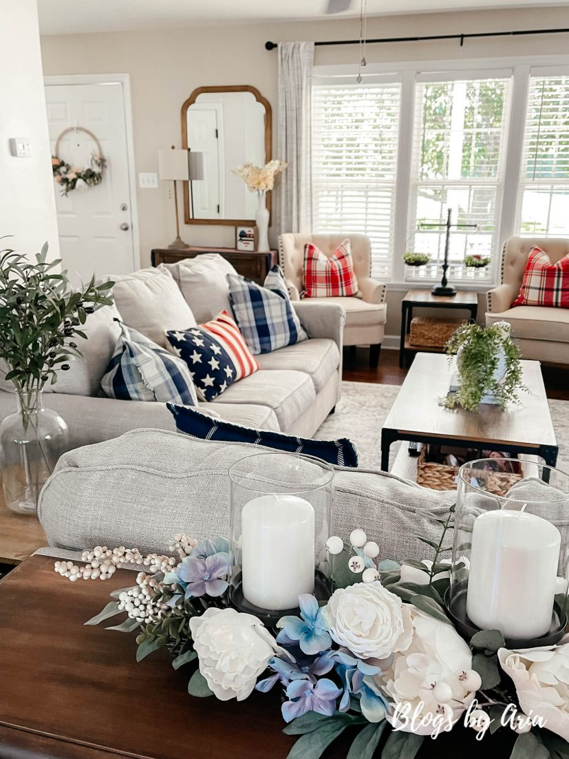 modern farmhouse patriotic home decor styled family room for the fourth of July