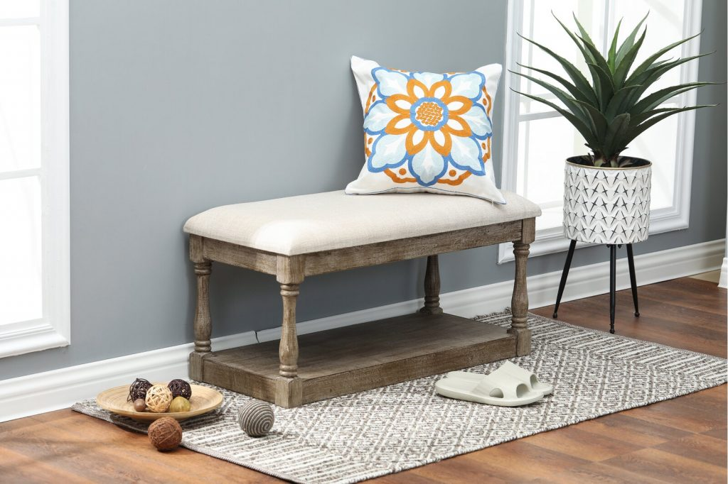 upholstered entryway bench for small spaces