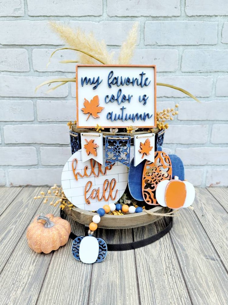 blue and orange hello fall tiered tray