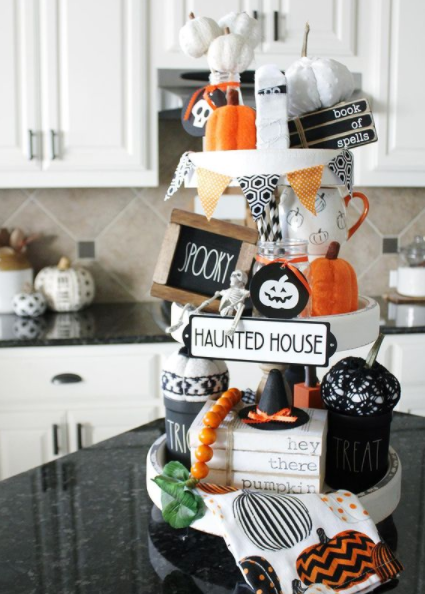 haunted house halloween tiered tray