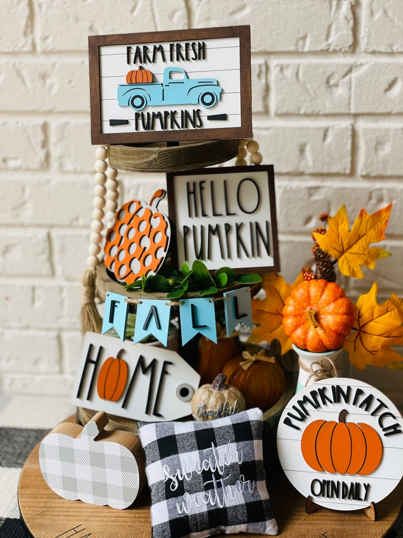 hello pumpkin patch tiered tray