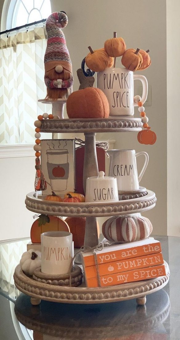 how to style fall farmhouse tiered tray