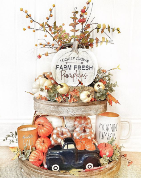 pumpkin patch fall tiered tray