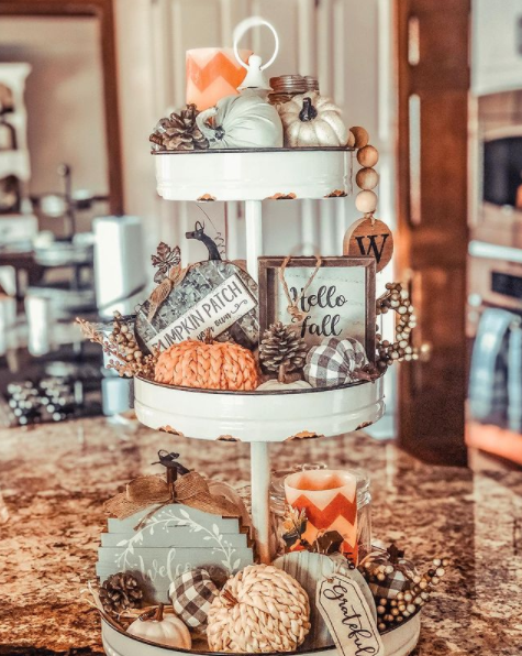 rustic farmhouse three tiered tray styled for fall