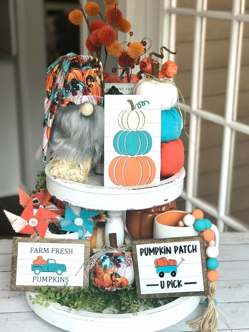 teal and orange fall tiered tray