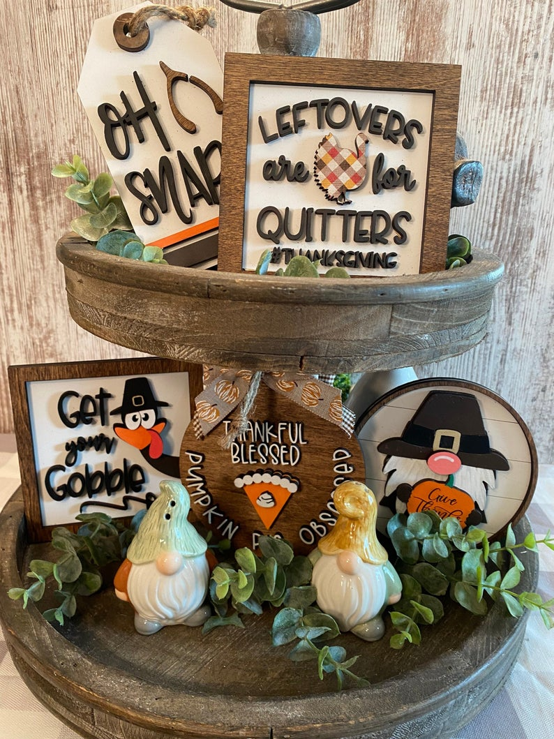 thanksgiving fall tiered tray decor