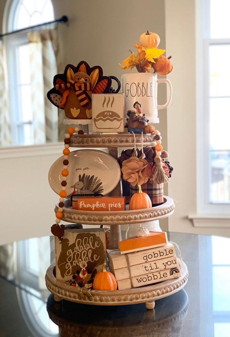 thanksgiving fall tiered tray ideas