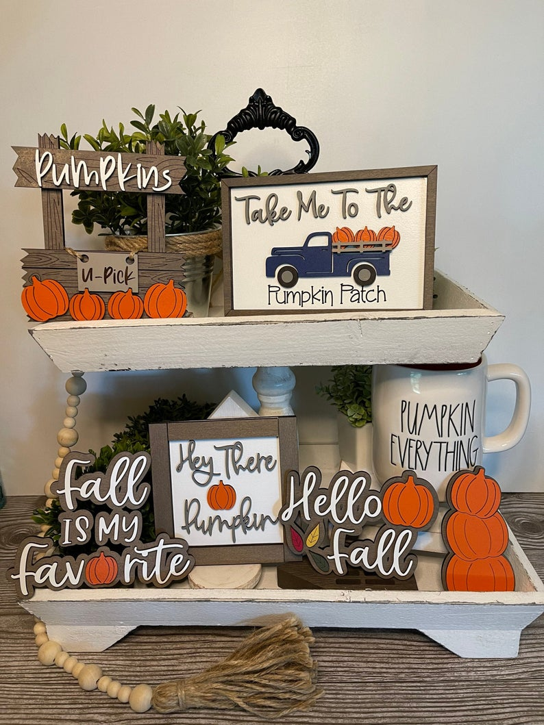 pumpkin tiered tray signs