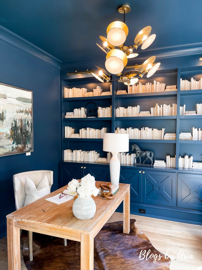 blue home office with painted built ins