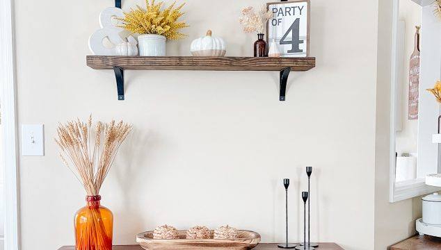 Fall Dining Room with Floating Shelves