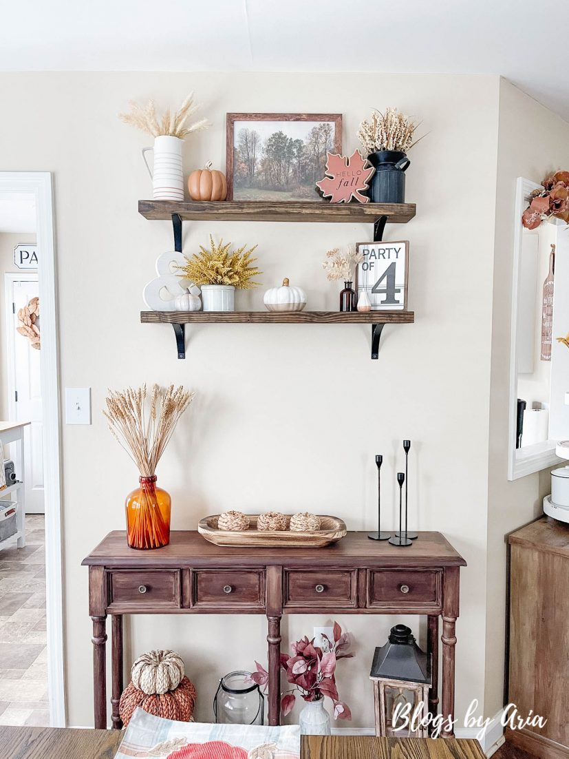how to decorate floating shelves for Fall